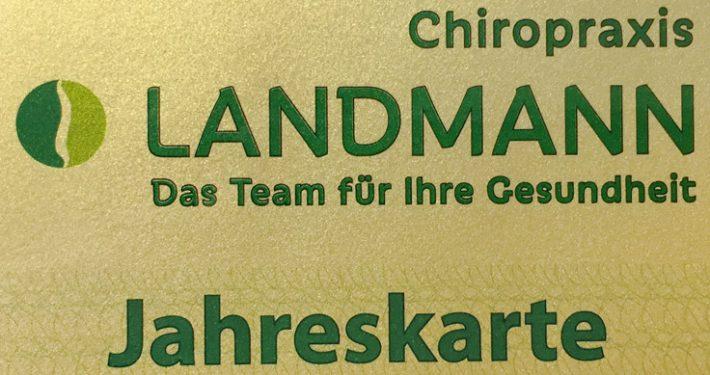 Jahreskarte-Gold der Chiropraxis Landmann bei Hamburg